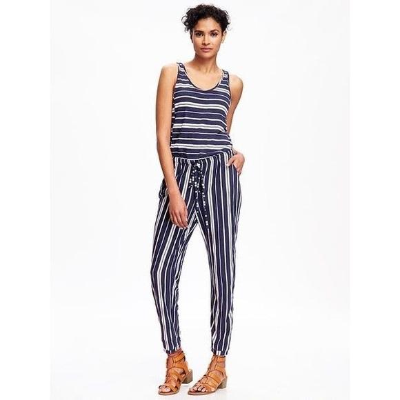 Old Navy Dresses Jersey Striped Jumpsuit Xs Poshmark